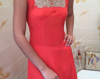 1930s vintage crinkle silk chiffon with alencon lace short slip/camisole in a rare hot pink