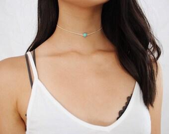 turquoise stone beaded choker - turquoise bead, turquoise choker, beaded choker, cream cord, black cord, minimal, delicate, dainty