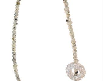Prehnite gemstone necklace with silver wire element handmade by Cobaja
