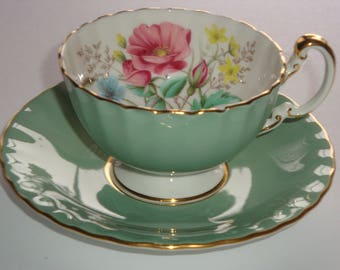Aynsley Teal Green and Poppy Tea Cup and Saucer