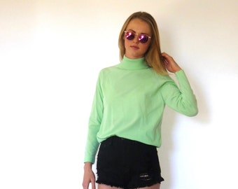 70s Neon Mint Green Polyester Turtleneck Tunic xs s m