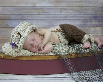 Crochet Fisherman Hat and Pants with Suspenders Set Hat Infant