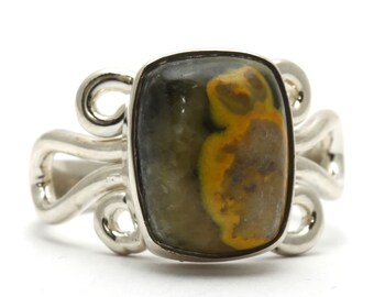 Jasper Ring, 925 Sterling Silver, Unique only 1 piece available! SIZE 7.50, color green, weight 5.5g, #34073