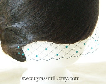 Petit BLACK VEIL with TEAL Crystals - Also available in Ivory, White and Champagne Birdcage Netting