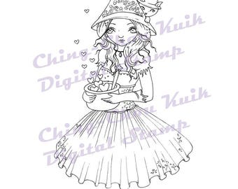 Love Magic - Digital Stamp Instant Download /Witch Kitty Kitten Cat Girl Fairy Fantasy Art by Ching-Chou Kuik