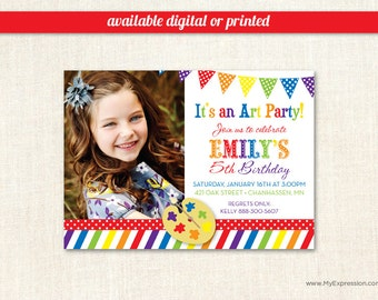 Art Birthday Party Invitations  - Paint and Create Art Birthday Invitations - Kids Photo Birthday Invitations - Digital or Printed
