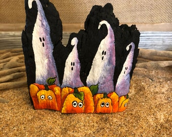 Driftwood halloween ghosts jack o lantern pumpkin shelf sitter rustic art  ornament # 90