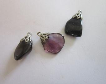 Vintage Polished Stone Amethyst and Smokey Quartz Necklace Pendants (Lot of 3)