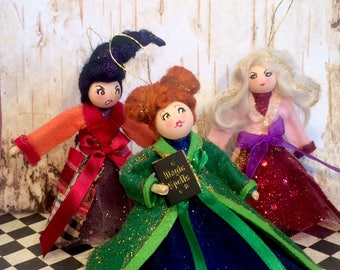 Sanderson sisters doll ornaments hocus pocus vintage retro inspired art doll halloween ornaments witch doll