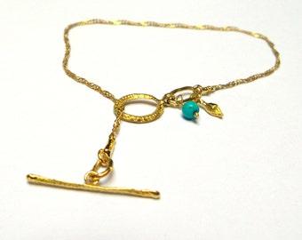Gold Bracelet - 18K Gold Bracelet - Turquoise Bracelet - Seeds Collection - Free Shipping!!!