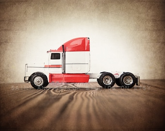 Red and White Semi Truck, Photo Print,  Wall Decor, Playroom decor,  Kids Room, Nursery Ideas, Gift Ideas,