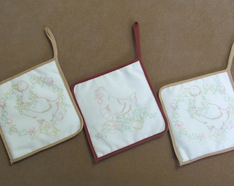 Three Vintage Stamped Embroidery Hot Pad Pot Holders Ducks Chicken