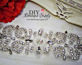 X- Large Rhinestone and pearl applique - Pearl rhinestone Sash Applique DIY bridal sash wedding sash Crystal applique for Sash Belt  036355