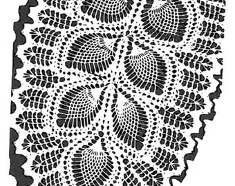 Vintage Crochet PATTERN 7293 Oval doily scarf leaf & pineapple design PDF instant download