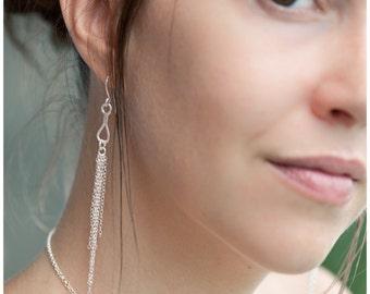 Silver Drop Light Mist Dangle Earrings