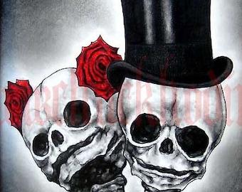 "Print 8x10"" - Couple - Skull Skeleton Roses Top Hat Day of the Dead Macabre Gothic Fantasy Wedding Bride Groom Dark Art Pop"