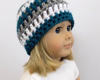 18 Inch Doll Clothes, Doll Hat, Striped Doll Beanie