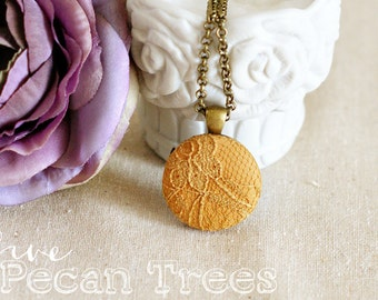 Fabric Pendant Necklace, Lace Pendant Necklace - Mustard Yellow Necklace - Everyday Jewelry - Bridesmaid Gift - Boho Jewelry