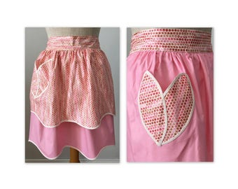 Vintage 60s Pink Reversible Apron with Tulip Pockets