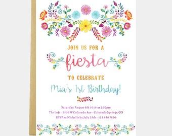 Fiesta Birthday Party Invitation, Fiesta Birthday Party, Floral Fiesta Invitation, Mexican Flowers Birthday Invitation, Printable or Printed