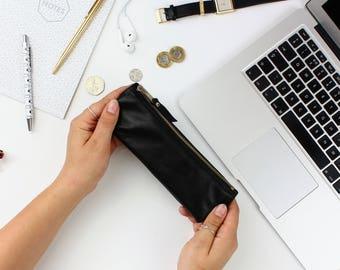 Black Leather Pencil Case // Gift for Him, Pen case, Pen holder, Pencil case, Leather pen pouch, Leather pencil pouch, Leather pen case