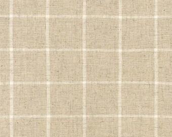 Robert Kaufman Essex Yarn Dyed Linen/Cotton Classic Window Pane in Natural - Half Yard