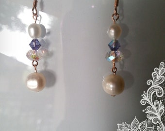 Gold plated wire earrings with Swarovski crystals and freshwater pearls
