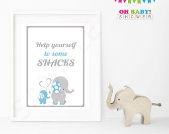 Elephant Baby Shower Boy Decorations, Boy Baby Shower, Please help yourself to some snacks Blue and Gray Printable Download Baby Decor ELLBG