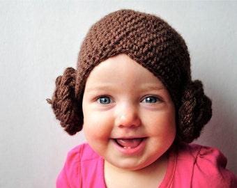 Crochet Princess Leia Hat - Newborn to Adult Sizes