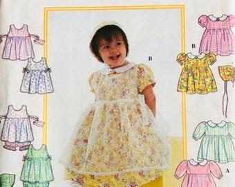 Simplicity 8538, Size Newborn, Small, Medium, Large, Babies' Dress, Pinafore, Panties and Bonnet Pattern, UNCUT, Holiday, Party, Sundress