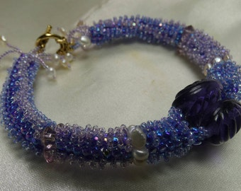 """Beautiful Genuine carved amathyst bracelet with small amathyst beads and pearls artisan -22grms- 15""""-2250"""