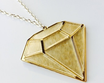 Sale | Diamond | Strong | Shine Bright | Mirrored | Gold | Laser Cut | Acrylic | Necklace