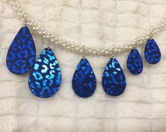 Metallic Blue Leopard Print Teardrop Earrings