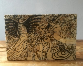Drawing ' birds ' on wood