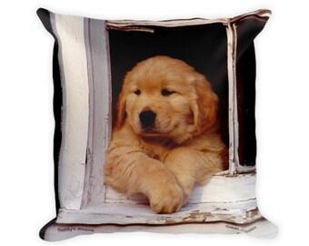 Golden Retriever Throw Pillow Square Retriever Puppy Pillow Dog Decorative Pillow 18x18 Throw Pillows Dog Lover New Puppy Gift Nursery Decor