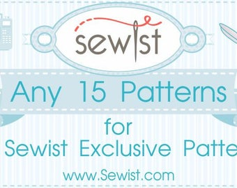 Any 15 PDF Sewing Patterns, Custom Size