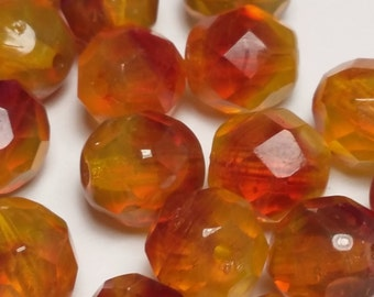 15pcs Red And Yellow Fire Beads - Czech Glass Beads - Faceted Beads - 8mm Beads - BB57