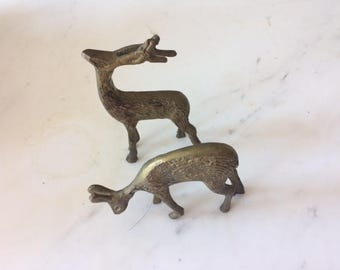 brass deer vintage   christmas deer holiday deer