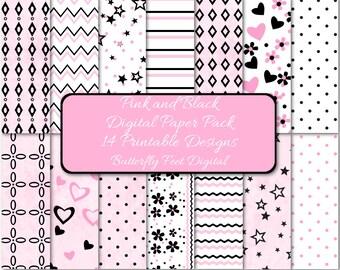 Pink and Black Digital Paper, 14 Printable Designs, Scrapbooking, Card Making, Instant Download