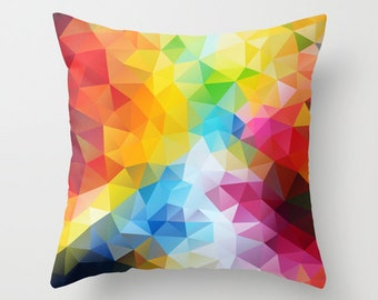 Rainbow Cushion Pillow cover Red Throw pillow Cushion covers Pillow case Accent pillow Couch pillow Decorative Abstract Pattern 16x16 16x24
