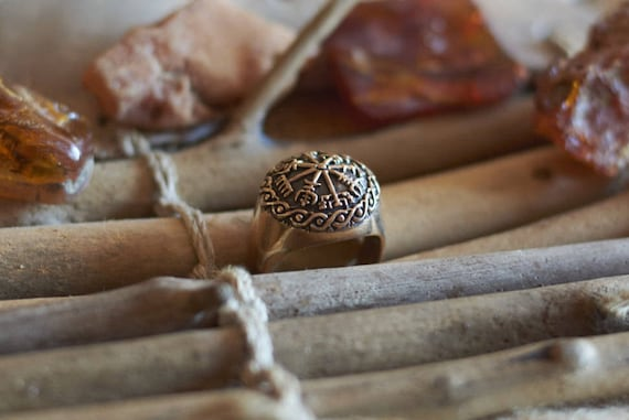 vegvisir bague viking boussole bague runique bronze. Black Bedroom Furniture Sets. Home Design Ideas