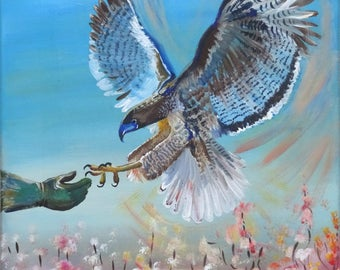 Falcon Hunting, big bird, bird of prey, hunting with a falcon, eagle, falcon, hawk, hunting, predator, beautiful bird, painting for men