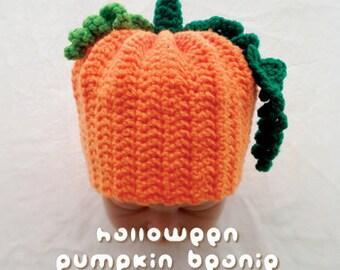 Crochet Pattern Halloween Pumpkin Baby Beanie Preemie Seamed Pumpkin Cap Newborn Hatwear Bonnet Pumpkin Beanie Baby Hat Halloween Costume