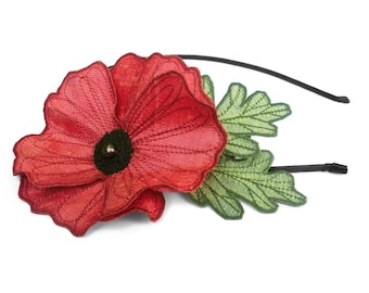 Bright Coral Icelandic Poppy Flower Headband- You Choose Headband, Clip, or Brooch- Embroidered Silk Flower Fascinator with Leaves