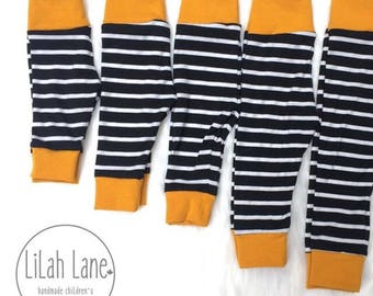 Black and White Striped Leggings with Mustard Cuffs   Infant Leggings   Cuff Leggings   Baby Leggings   Monochrome