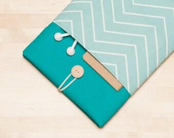 Macbook pro 15 case,  Macbook Pro 15 inch sleeve, 15 inch macbook cover, macbook 15 sleeve - chevron teal