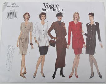 Loose Fitting Straight Dress Or Top Front And Back Dart Tucks Straight Skirt Size 12 14 16 Sewing Pattern 1994 Vogue 1421