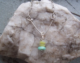 lovely blue and green cairn pendant on sterling