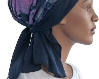 Blue Purple Cotton Knit Wrap Scarf Loc Wrap Hair Snood Chemo Scarf Tichel Hijab Tie Scarf Handmade