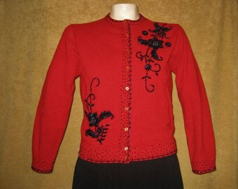 50s Beaded Sweater Cardigan Red Size 36 Vintage